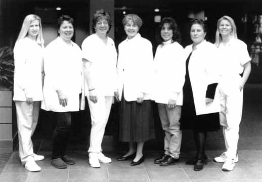 Seven Registered Aromatherapists™ from southeastern Massachusetts, all of whom are nurses. From left: Tiffini Young-Kershaw,RN, Debra Cromwell, LPN, Janice Gagnon-Warr, RN, Vivian Gifford, RN, Kim Cabral, RN, Maria Moura, RN and Lori Lincoln-Viera, LPN. Not pictured are Joanne Dupre, PT , Leonora Torres, LMT, and Linda Rose, RN